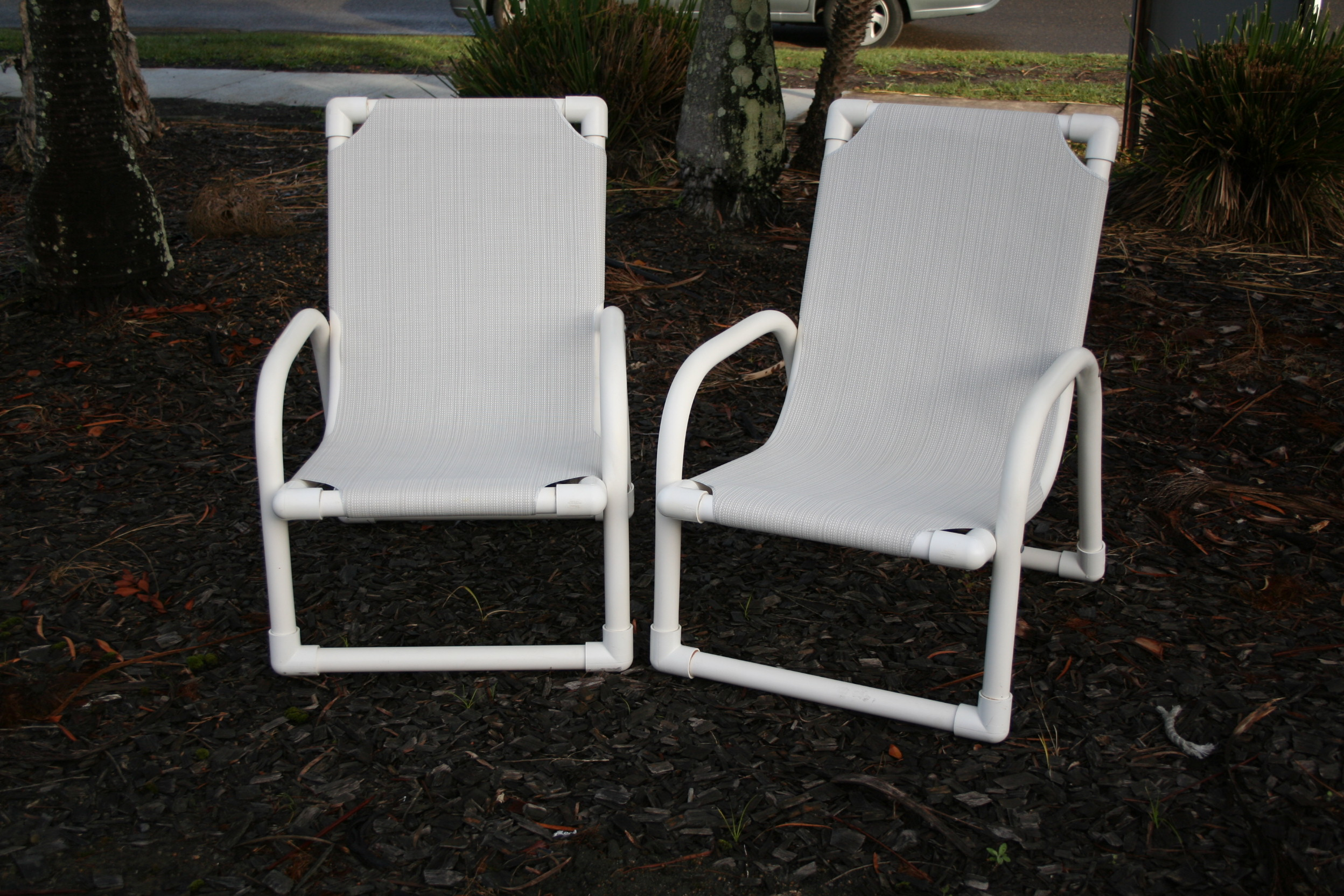 High Back PVC Chair in Grey/White Rattan